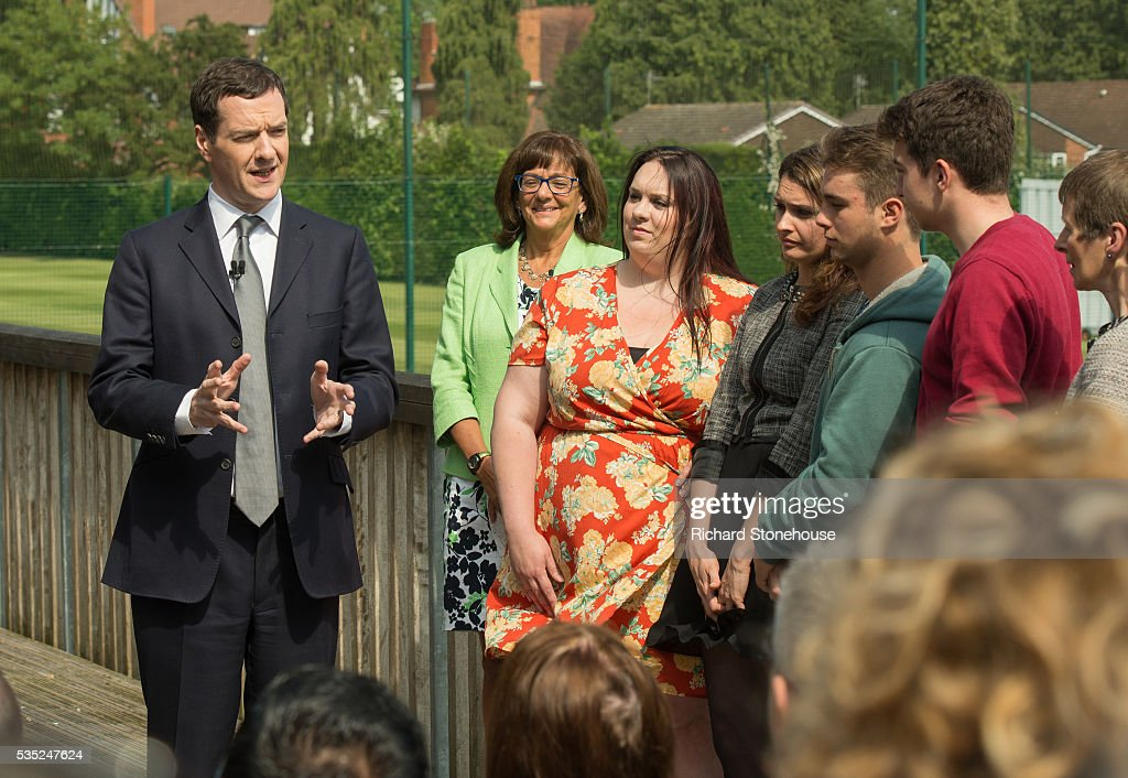 The Chancellor of the Exchequer Rt Hon George Osbourne MP speaking to local West Midlands Residents at The West Warwickshire Sports Club May 27, 2016, Solihull, England. The Chancellor warned of the negative impact to pensions citing analysis from the Treasury suggesting if the UK was to vote to leave the EU in the upcoming Referendum then £300 billion could be wiped off the over-65s pension pots.