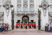 The Changing of the guard band play 'Congratulations' the day after the birth of the son of Prince William Duke of Cambridge and Catherine Duchess of...