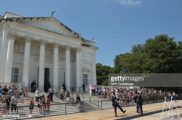 The changing of the guard ceremony is seen at the Tomb on the Unkonown Soldier before a wreath laying ceremony by Japan's Foreign Minister Taro Kono...