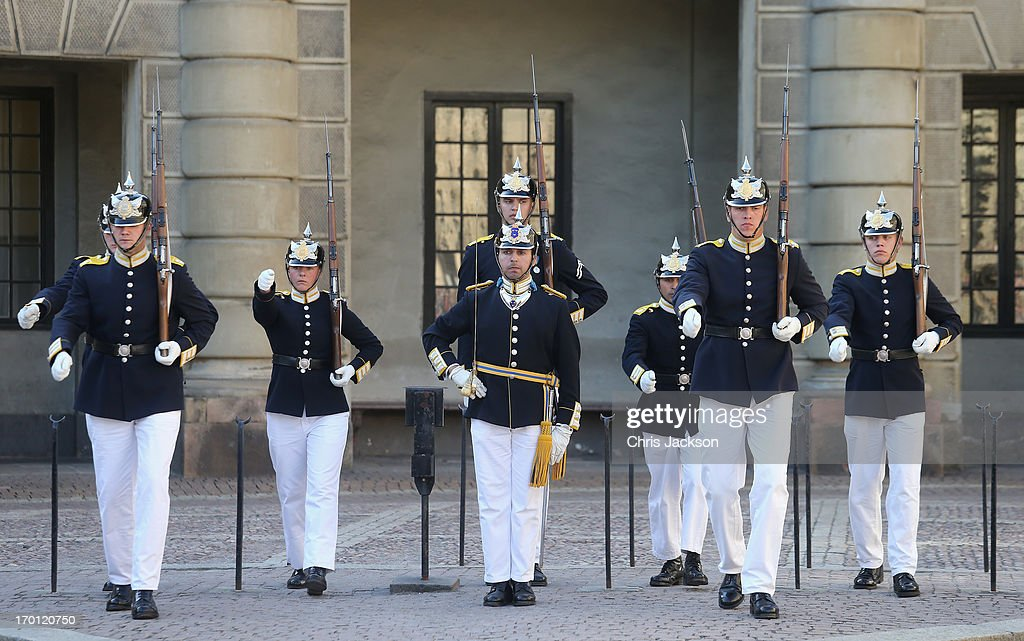 The changing of the guard takes place outside the Royal Palace as preparations for the wedding of Princess Madeleine of Sweden and Christopher O'Neill continue on June 7, 2013 in Stockholm, Sweden.