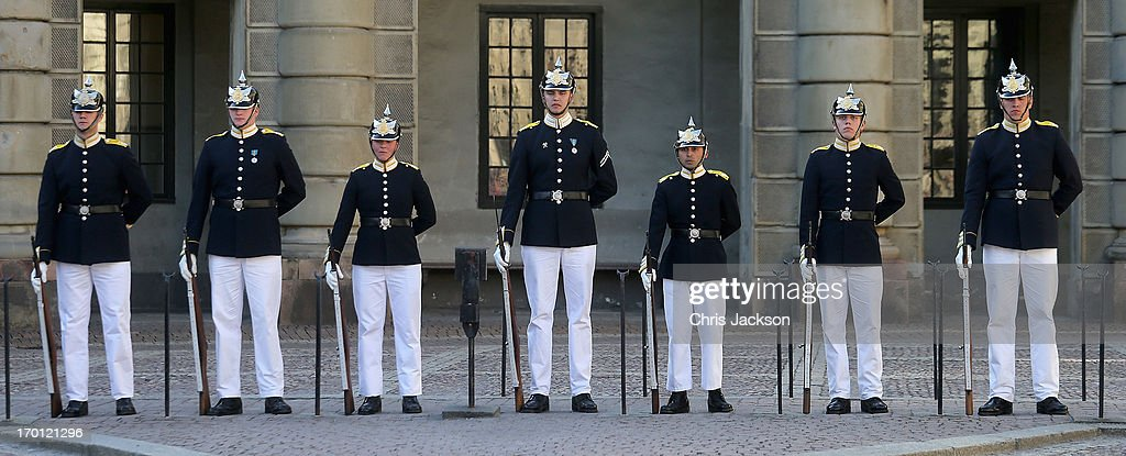 The changing of the guard takes place outside the Royal Palace in Stockholm as preparations for the wedding of Princess Madeleine of Sweden and Christopher O'Neill continues on June 7, 2013 in Stockholm, Sweden.