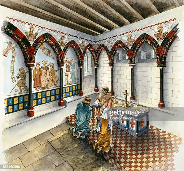 The Chapel Clifford's Tower late 14th century Interior view of the Chapel late 14th century Reconstruction drawing of Clifford's Tower the largest...