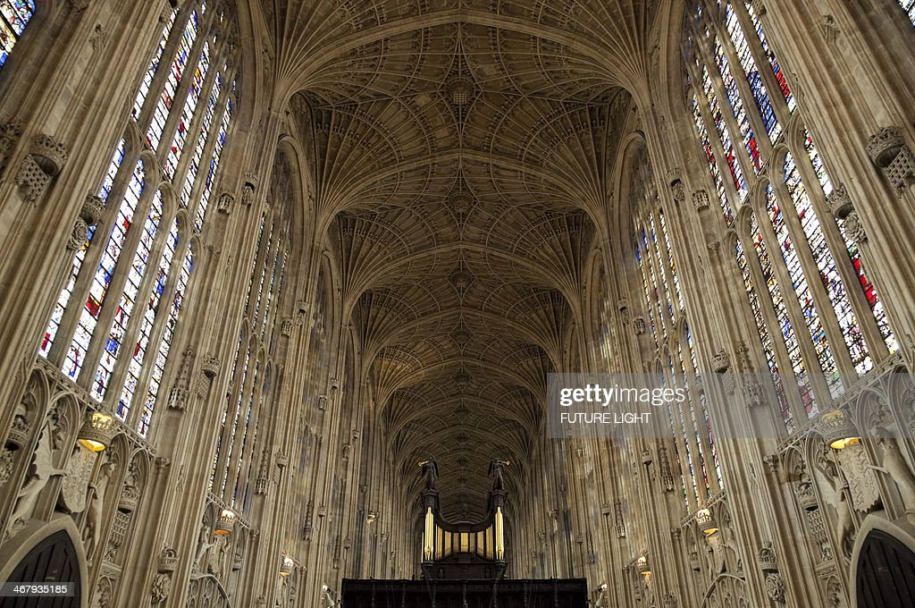 The Chapel King's College Fan Vault Ceiling : Stock Photo