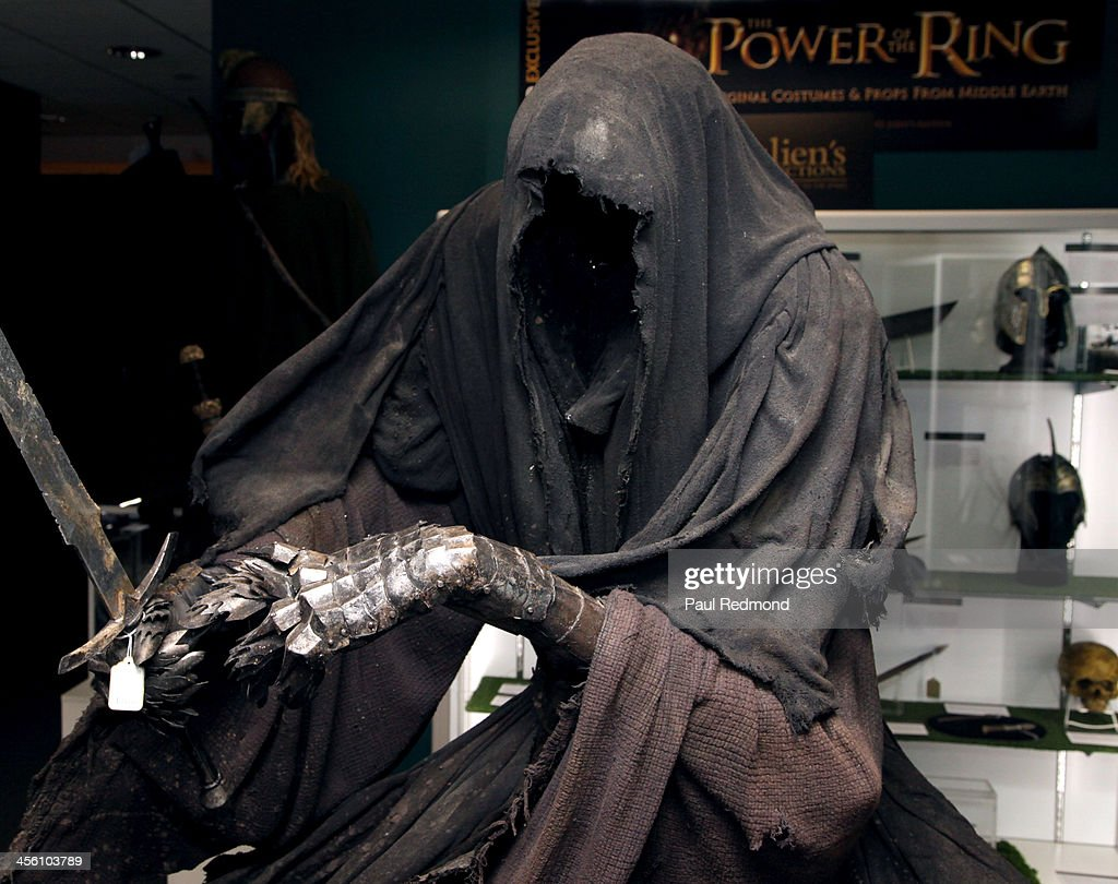 The character Ringwraith, staue and wardrobe (armor and hood detail) from the film at Julien's Auctions present The Trilogy Collection: Props and Costumes from Middle Earth, Street Art Auction and Icons and Idols: Rock n' Roll Memorabilia at Julien's Gallery on December 2, 2013 in Beverly Hills, California.