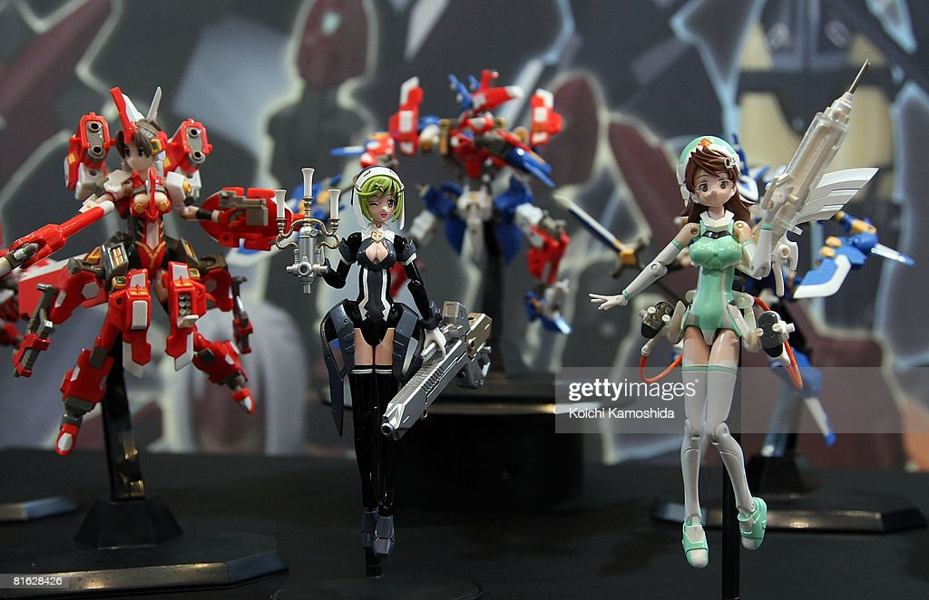 The characters of 'Busou Shinki' of Konami Coporation are displayed during the International Tokyo Toy Show 2008 at Tokyo Big Sight on June 19, 2008 in Tokyo, Japan. 120,000 people are expected to visit the show over the 4 days which has 134 toy manufacturers from both Japan and abroad showing 36,000 products.