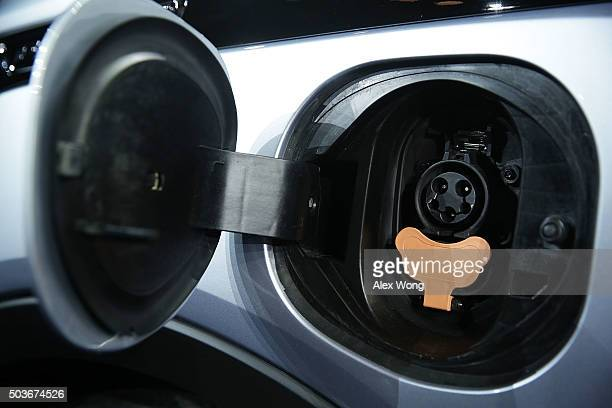 The charging port of the new Chevy Bolt EV an electric car with a battery range of 200 miles priced at $30 and will be in production this year is...