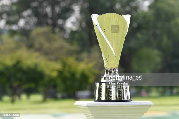 The Charles Schwab Cup is displayed on the first tee during the final round of the PGA TOUR Champions DICK'S Sporting Goods Open at EnJoie Golf...