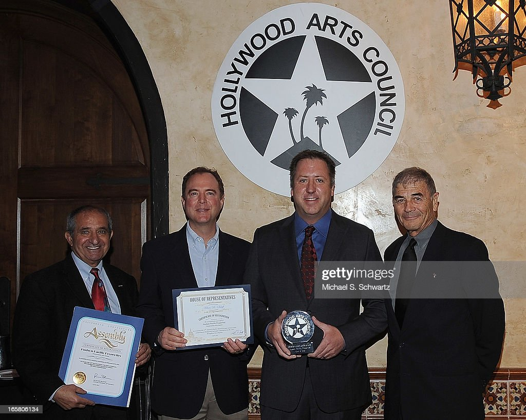 The Charlie Awards event producer Oscar Arslanian, congressman Adam Schiff, Executive Vice President of Operations and Development Hudson Properties Christopher J. Barton, accepting the Preservation Arts Charlie Award and actor Robert Forster attend the Hollywood Arts Council's 27th Annual Charlie Awards Luncheon at the Hollywood Roosevelt Hotel on April 5, 2013 in Hollywood, California.