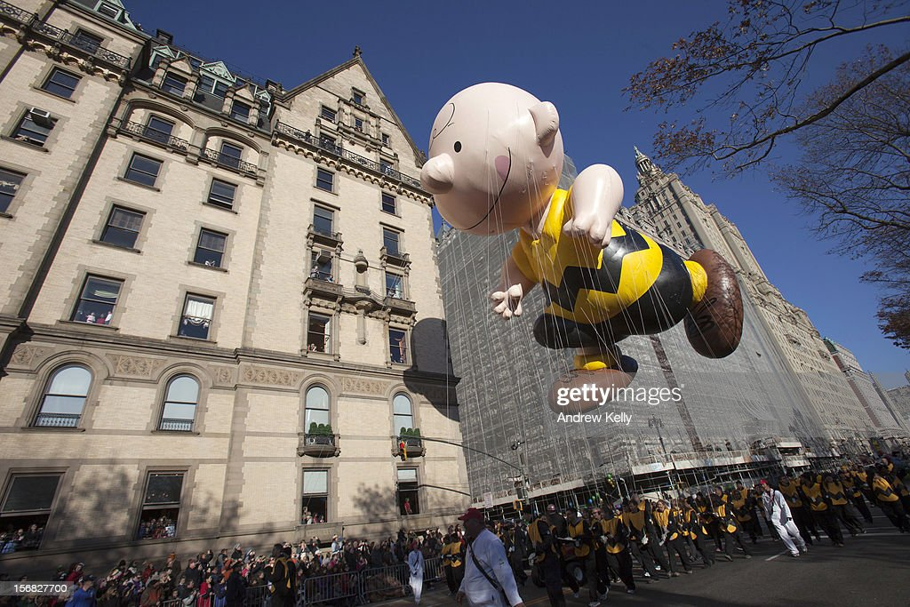 The Charlie Brown balloon makes its way down Central Park West during the 86th Annual Macy's Thanksgiving Day Parade November 22, 2012 in New York City. Macy's donated tickets and transportation to this year's Thanksgiving Day Parade to 5,000 people from neighborhoods hardest hit by Superstorm Sandy.