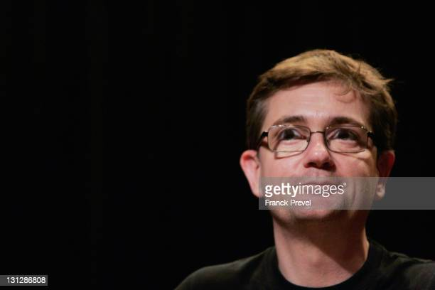 The Charlie Hebdo's cartoonist Charb attends a press conference at Theatre du RondPoint on November 3 2011 in Paris France The offices of French...