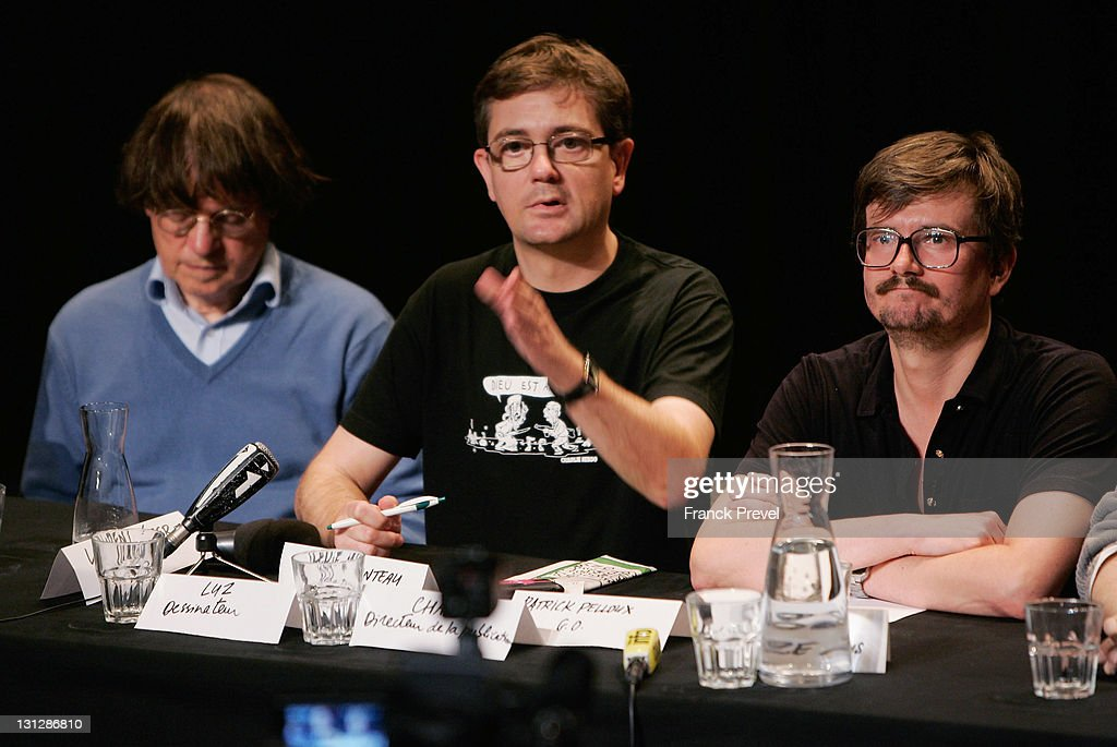 The Charlie Hebdo's cartoonists <a gi-track='captionPersonalityLinkClicked' href=/galleries/search?phrase=Cabu+-+Cartoonist&family=editorial&specificpeople=13836638 ng-click='$event.stopPropagation()'>Cabu</a> (Stephane Charbonnier), Charb and Luz attend a press conference at Theatre du Rond-Point on November 3, 2011 in Paris, France. The offices of French satirical magazine Charlie Hebdo were attacked and completely destroyed a day after they featured a caricature of the Prophet Muhammad on its cover and named him as 'editor-in-chief'.