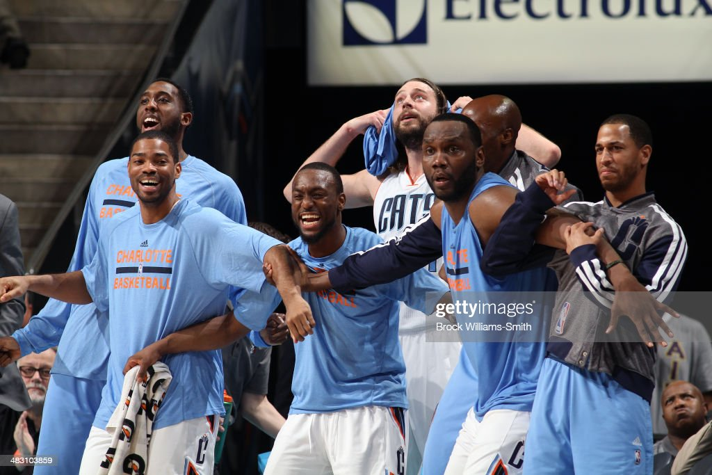The Charlotte Bobcats bench during a game against the Portland Trail Blazers during the game at the Time Warner Cable Arena on March 22, 2014 in Charlotte, North Carolina.