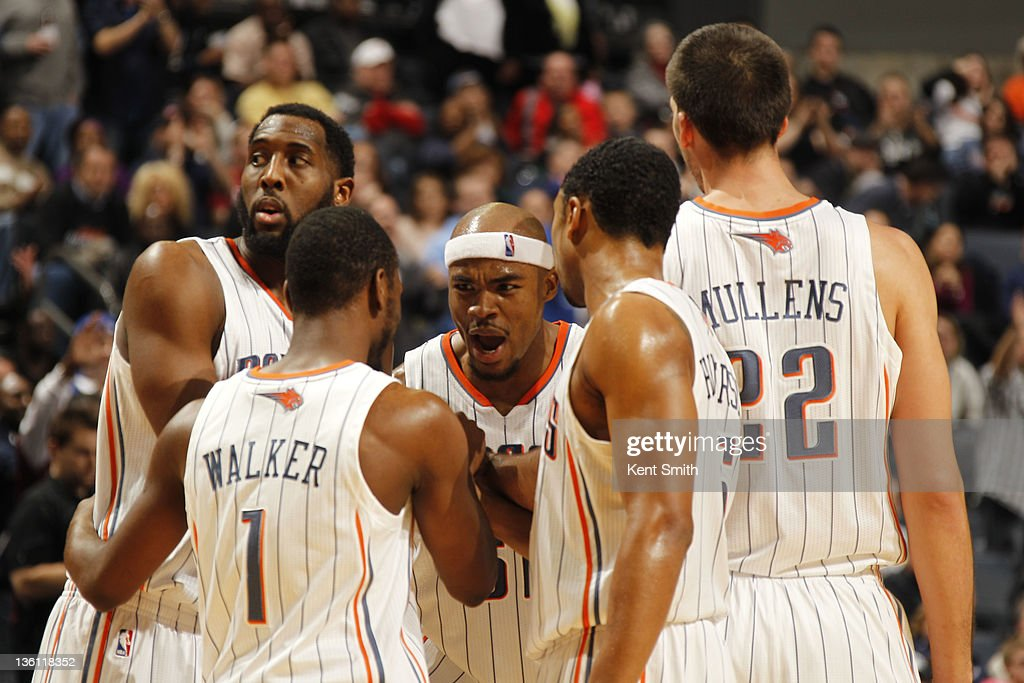 The Charlotte Bobcats huddle on December 26, 2011 during the season opener against the Milwaukee Bucks at the Time Warner Cable Arena in Charlotte, North Carolina.