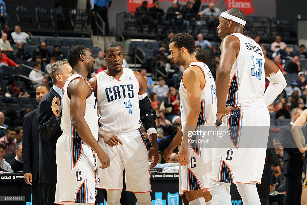 The Charlotte Bobcats huddle up before the game against the Indiana Pacers at the Time Warner Cable Arena on January 15, 2013 in Charlotte, North Carolina.