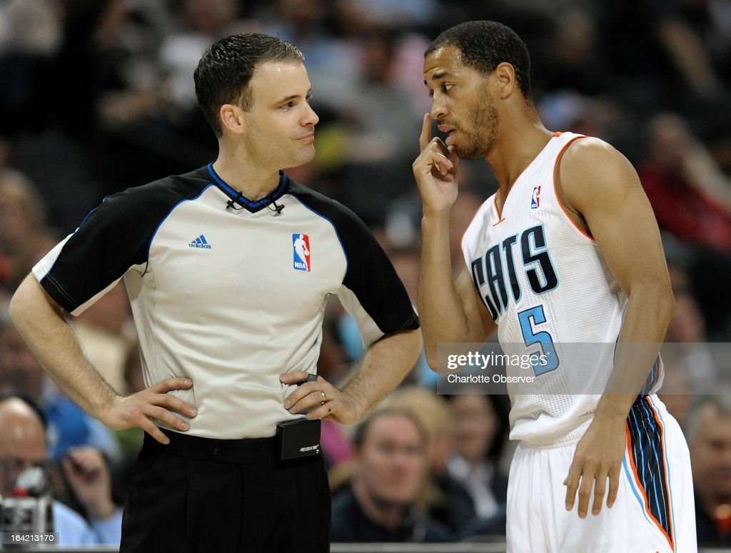 The Charlotte Bobcats' Jannero Pargo talks with official Mark Lindsay during second-half action against the Toronto Raptors at Time Warner Cable Arena in Charlotte, North Carolina, on Wednesday, March 20, 2013. Charlotte won, 107-101.