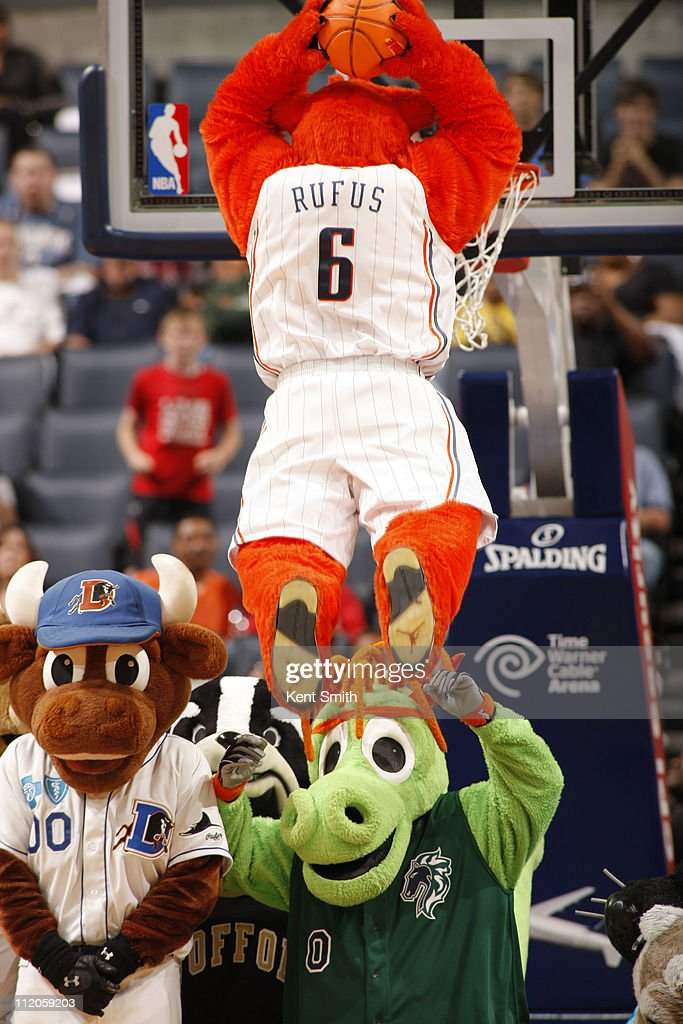 The Charlotte Bobcats mascot, Rufus, entertains the crowd during the game against the Detroit Pistons on April 10, 2011 at Time Warner Cable Arena on the practice court in Charlotte, North Carolina.