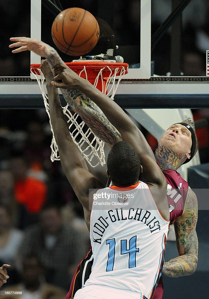 The Charlotte Bobcats' Michael Kidd-Gilchrist (14) has his shot blocked by the Miami Heat's Chris Andersen during second-half action on Friday, April 5, 2013 at Time Warner Cable Arena in Charlotte, North Carolina. Miami won, 89-79.
