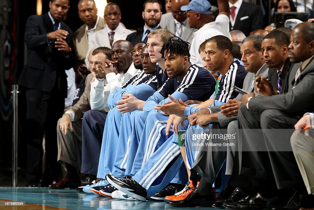 The Charlotte Bobcats sit on the sideline during a game against the Miami Heat in Game Three of the Eastern Conference Quarterfinals of the 2014 NBA playoffs at the Time Warner Cable Arena on April 26, 2014 in Charlotte, North Carolina.