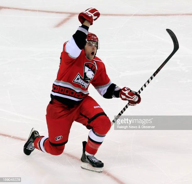 The Charlotte Checkers Jerome Samson celebrates his goal during the third period as they play the Norfolk Admirals in an American Hockey League game...