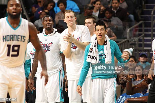 The Charlotte Hornets bench celebrates a great game against the Chicago Bulls during the game at the Time Warner Cable Arena on November 03 2015 in...