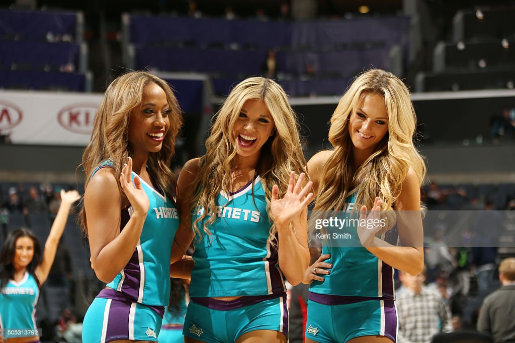 The Charlotte Hornets dance team performs during the game against the Milwaukee Bucks on January 16, 2016 at Time Warner Cable Arena in Charlotte, North Carolina.