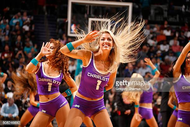 The Charlotte Hornets dancers perform their routine during the game against the Cleveland Cavaliers on February 3 2016 at Time Warner Cable Arena in...