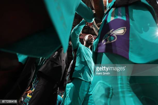The Charlotte Hornets huddle before the game against the Atlanta Hawks on October 20 2017 at Spectrum Center in Charlotte North Carolina NOTE TO USER...