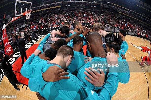 The Charlotte Hornets huddle before the game against the Chicago Bulls on December 5 2015 at the United Center in Chicago Illinois NOTE TO USER User...