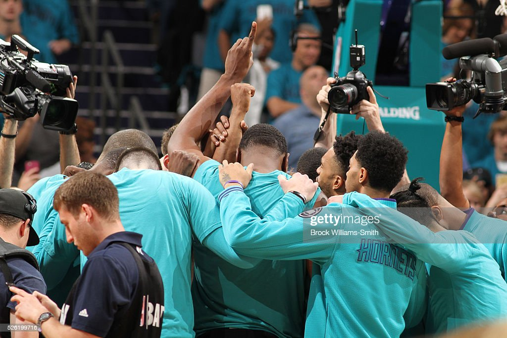 The Charlotte Hornets huddle before the game against the Miami Heat in Game Six of the Eastern Conference Quarterfinals during the 2016 NBA Playoffs on April 29, 2016 at Time Warner Cable Arena in Charlotte, North Carolina.