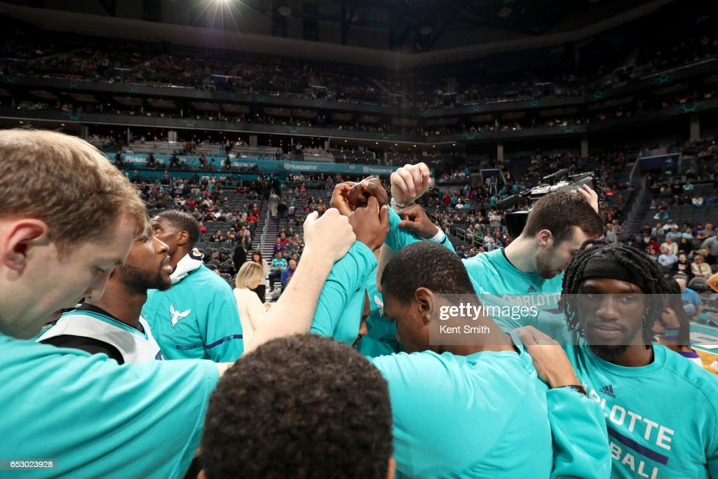 The Charlotte Hornets huddle up before the game against the Chicago Bulls on March 13, 2017 at Spectrum Center in Charlotte, North Carolina.