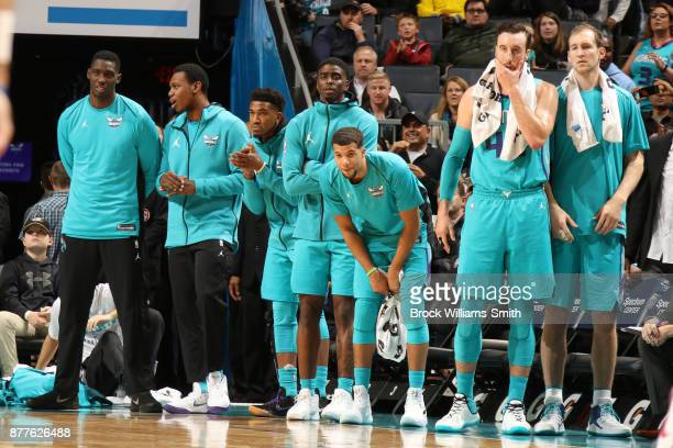 The Charlotte Hornets look on as they face against the Washington Wizards on November 22 2017 at Spectrum Center in Charlotte North Carolina NOTE TO...