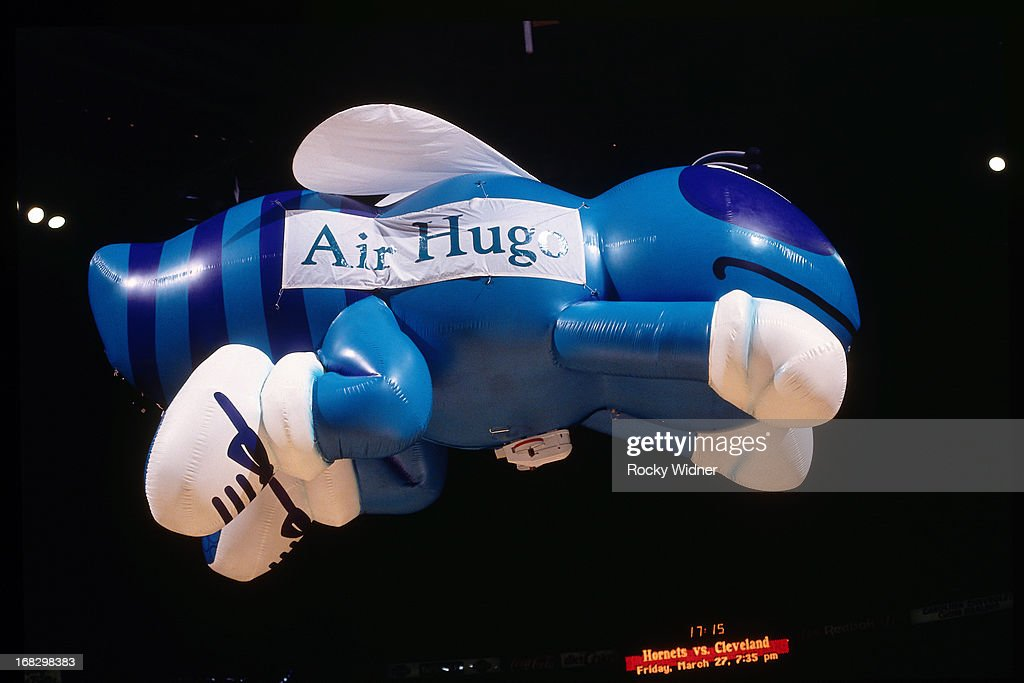 The Charlotte Hornets mascot balloon flys against the Detroit Pistons during a game played on March 22, 1992 at the Charlotte Coliseum in Charlotte, North Carolina.