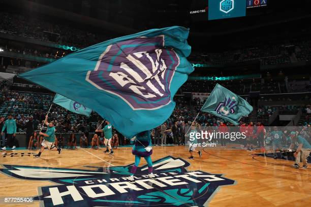 The Charlotte Hornets mascot waves the team flag before the game against the Atlanta Hawks on October 20 2017 at Spectrum Center in Charlotte North...