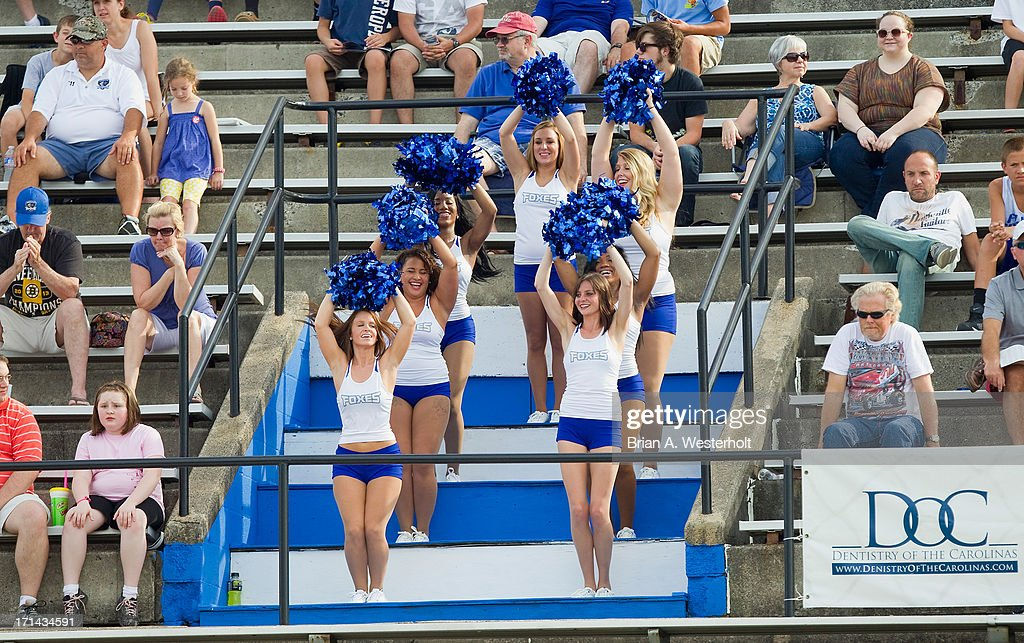 The Charlotte Hounds cheerleaders, 'The Foxes', entertain the crowd during the game against the Chesapeake Bayhawks at American Legion Memorial Stadium on June 22, 2013 in Charlotte, North Carolina. The Hounds defeated the Bayhawks 16-15 in overtime.