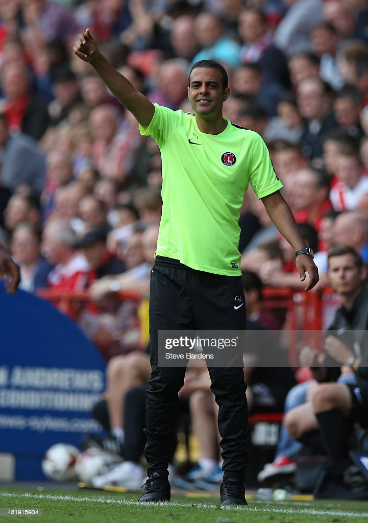 The Charlton Athletic manager <a gi-track='captionPersonalityLinkClicked' href=/galleries/search?phrase=Guy+Luzon&family=editorial&specificpeople=4595259 ng-click='$event.stopPropagation()'>Guy Luzon</a> gives instructions during the pre season friendly match between Charlton Athletic and West Ham United at the Valley on July 25, 2015 in London, England.