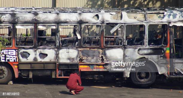 The charred BEST bus that caught fire at SV Road Andheri The bus had halted at the signal near Juhu lane when there were sparks in the CNG cylinder...