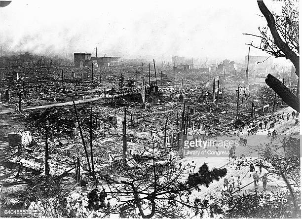The charred remnants of the city of Tokyo after the fire that resulted from the Great Kanto Earthquake of 1923