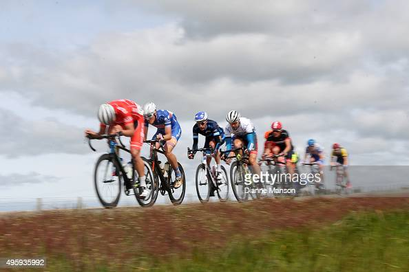 The chasing group make their way towards Gore during stage five of the Tour of Southland on November 6 2015 in Invercargill New Zealand