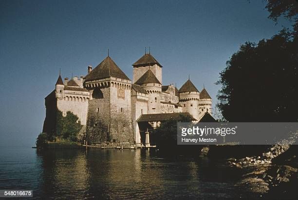 The Chateau de Chillon an island castle on Lake Geneva in Switzerland circa 1965
