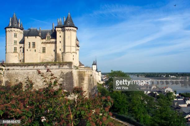 The Chateau de Saumur overlooking the River Loire and viwes of the city with Cessart bridge MaineetLoire Pays de la Loire France Europe