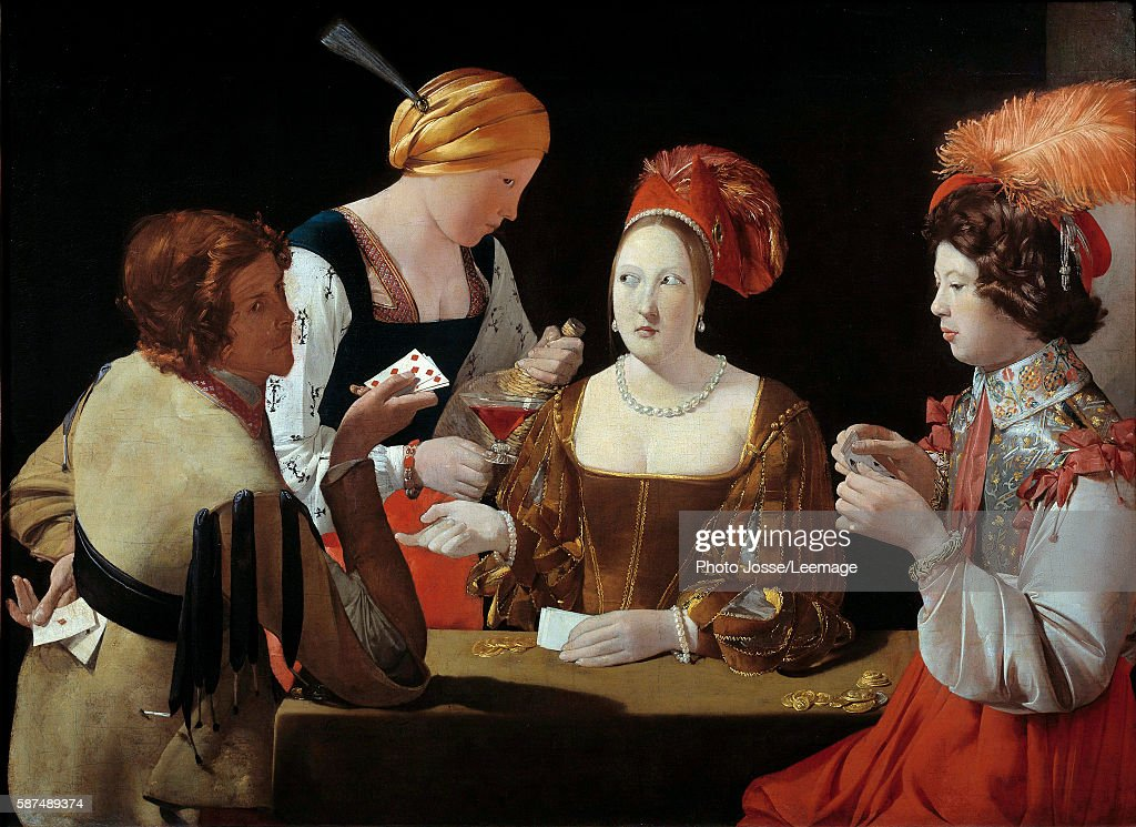 The cheat with the ace of diamonds Painting by Georges de La Tour oil on canvas c1635 Musee du Louvre Paris France