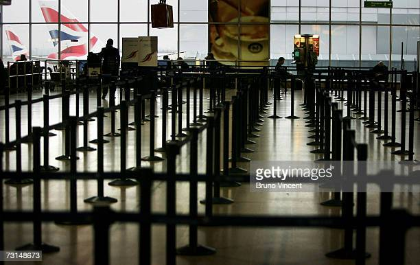 The check in queues for British Airways stand empty at Heathrow Airport on January 30 2007 in London British Airways is running a normal flight...