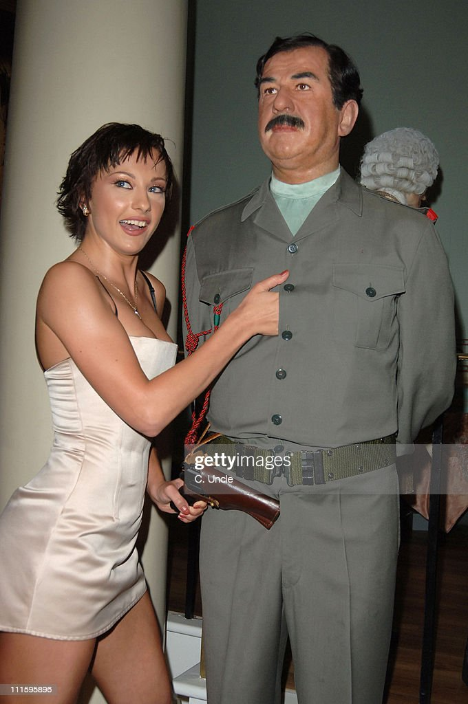 The Cheeky Girls with Saddam Hussein waxwork during Fabulous Gay Weddings Launch Party at Madame Tussauds in London, Great Britain.