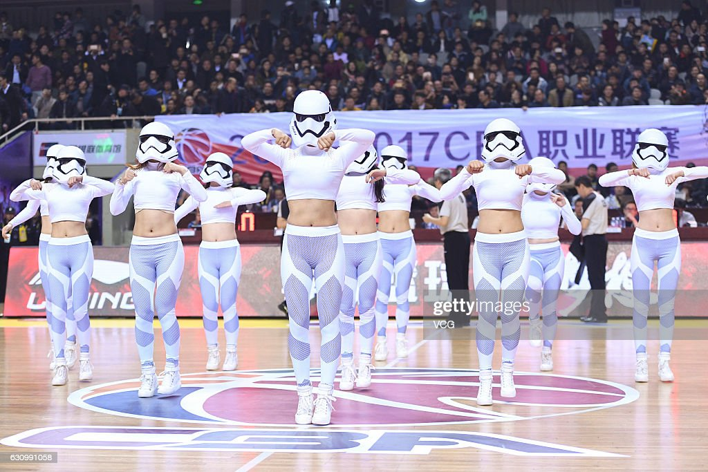 The cheering squad dressed as Star Wars' Stormtroopers perform in the game between Jiangsu Dragons and Xinjiang Flying Tigers during the 25th round match of 2016/2017 CBA Chinese Basketball Association on January 4, 2017 in Nanjing, Jiangsu province of China.