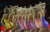 The cheerleaders perform during the 2014 FIBA World Cup Final basketball match between USA and Serbia at the Palacio de Deportes in Madrid Spain on...
