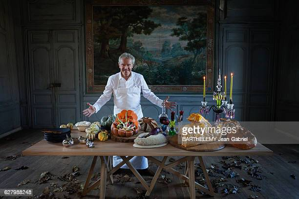 The chef Alain Passard presente the vegetal menu of Christmas Beetroot in salt crust vegetable blanquette with pumpkin and champagne and pastry log...