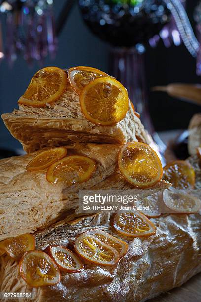The chef Alain Passard presente the vegetal menu of Christmas The pastry log with citrus fruits on november 2016 in FillesurSarthe France