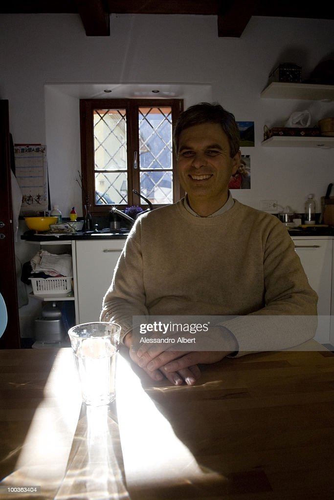 The chef Pietro Leemann in his home poses for a portraits session on February 12, 2008 in Giumaglio, Italy