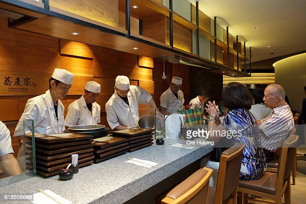 The chefs cook soba noodles at the casual dining space Noren in the ISETAN The Japan Store Kuala Lumpur LGF THE MARKET section during the ISETAN The...