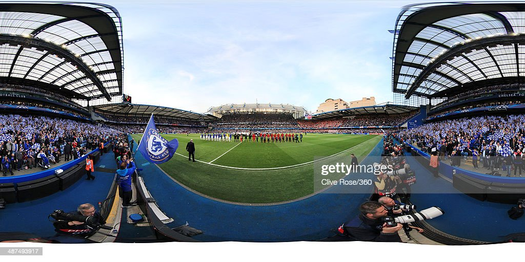 The Chelsea (L) and Club Atletico de Madrid teams line up prior to the UEFA Champions League semi-final second leg match between Chelsea and Club Atletico de Madrid at Stamford Bridge on April 30, 2014 in London, England.